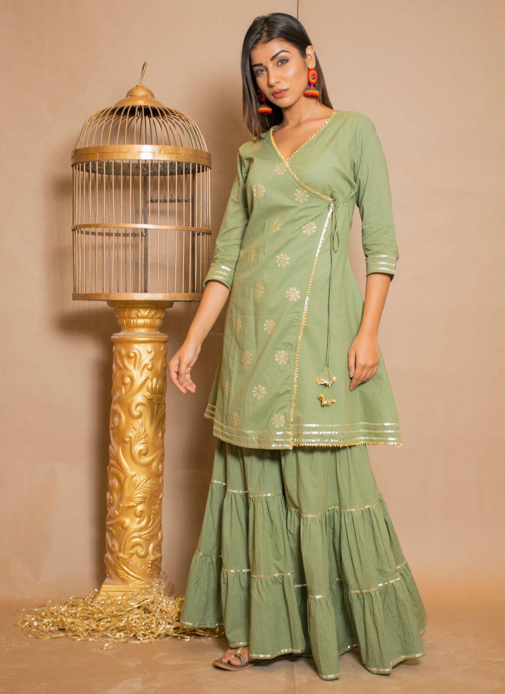 Green Lace Cotton Salwar Suit