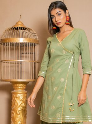 Green Lace Cotton Salwar Suit