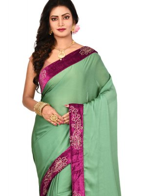 Green Lace Designer Saree