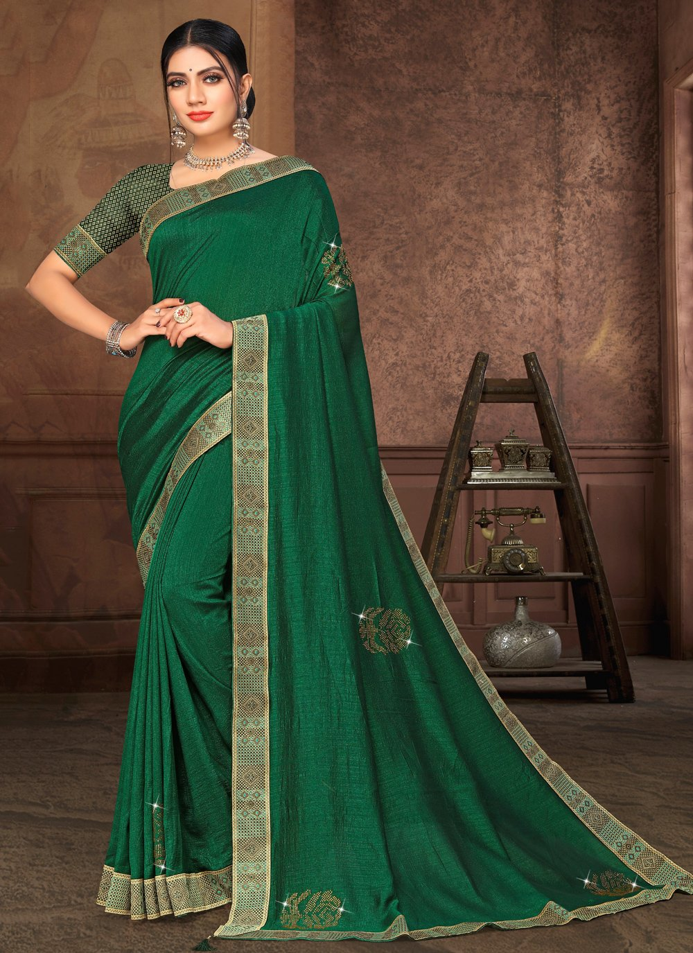 Green Lace Party Classic Saree