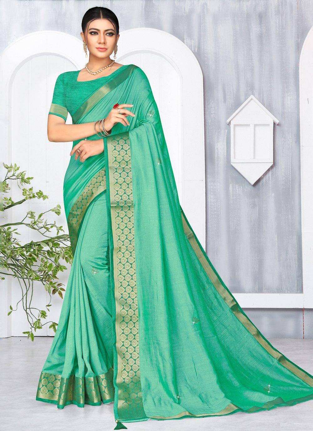 Green Lace Silk Classic Saree