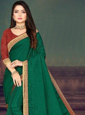 Green Lace Silk Trendy Saree