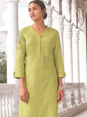 Green Linen Mehndi Designer Kurti