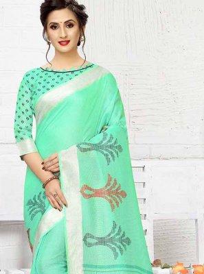 Green Linen Print Printed Saree
