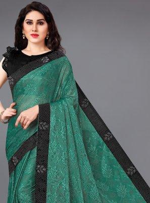 Green Lycra Classic Saree
