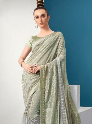 Green Lycra Fancy Classic Saree