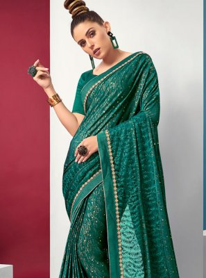 Green Lycra Festival Saree