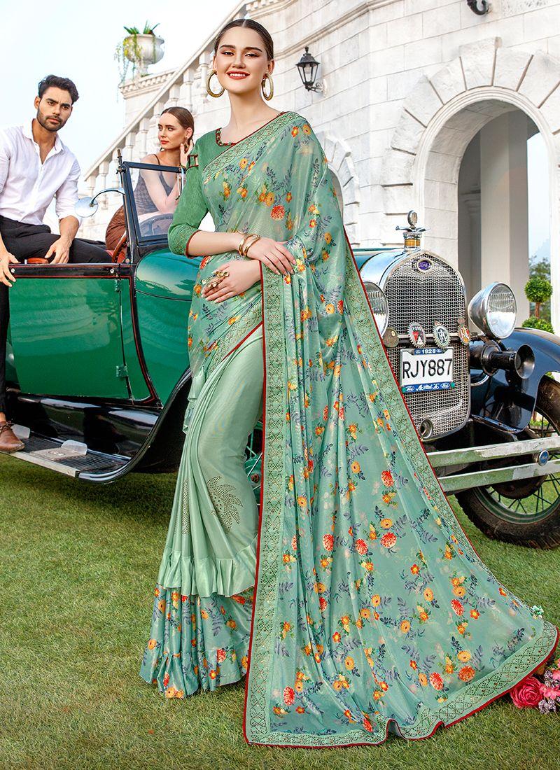 Green Lycra Party Designer Saree