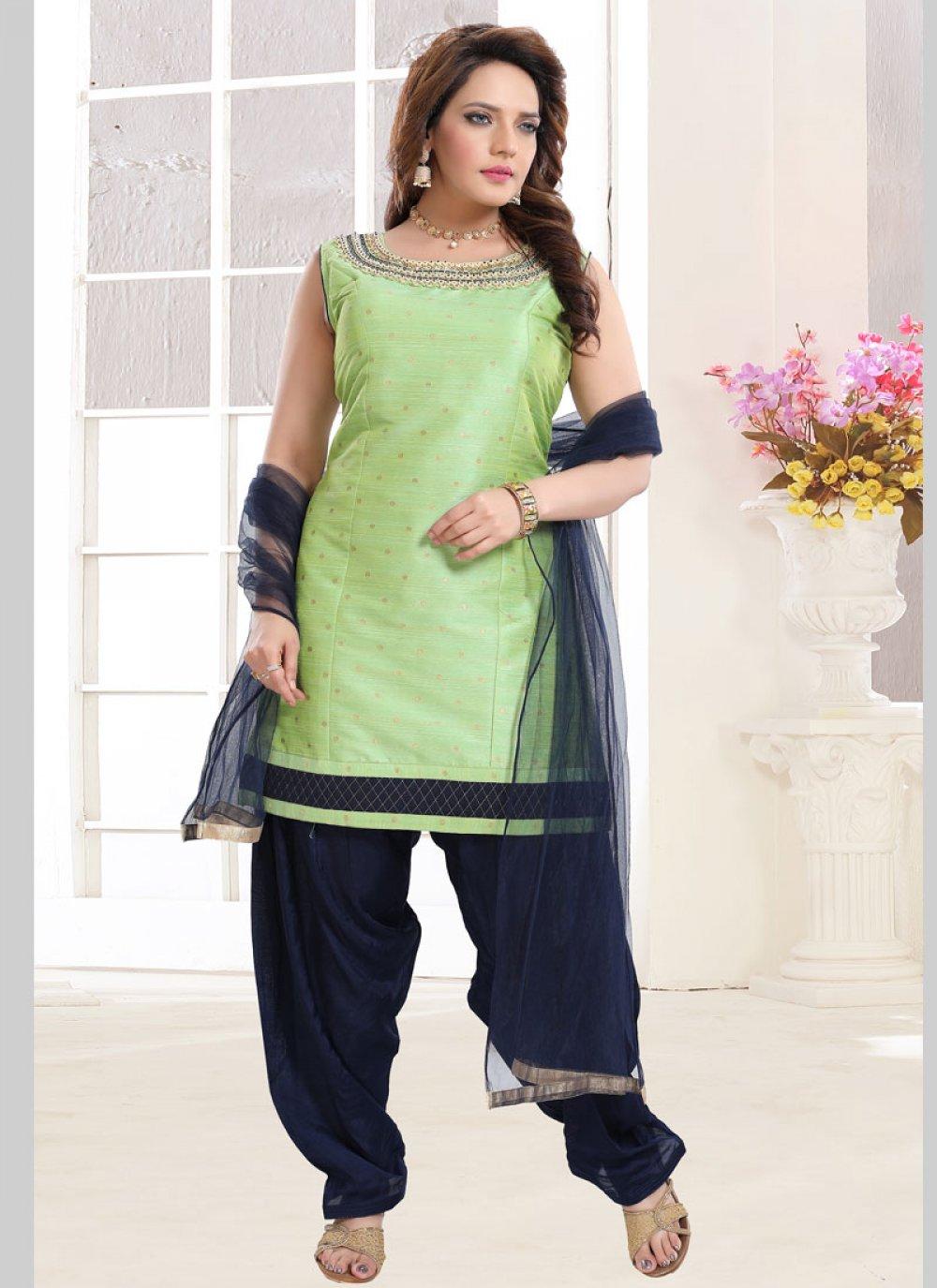 Green Malbari Silk  Handwork Salwar Suit