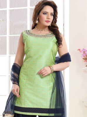 Green Malbari Silk  Handwork Salwar Suit
