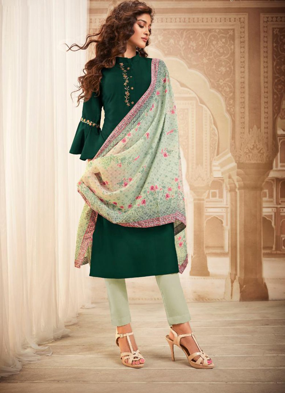 Green Maslin Silk Embroidered Readymade Salwar Kameez