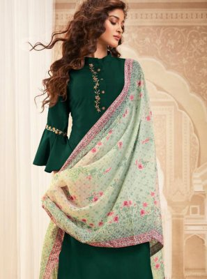 Green Maslin Silk Embroidered Readymade Salwar Kameez