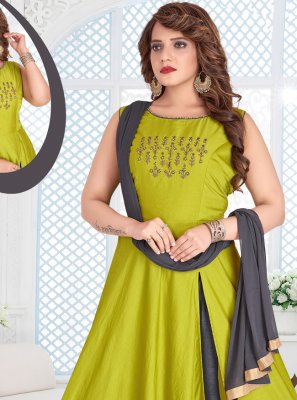 Green Maslin Silk Salwar Suit