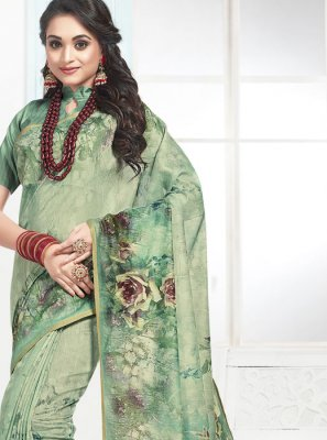 Green Mehndi Cotton Designer Traditional Saree