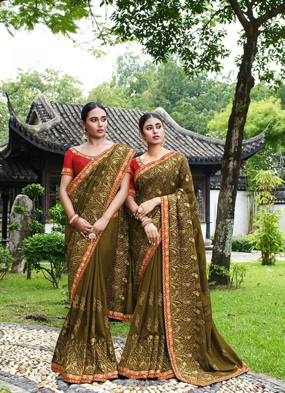 Green Mehndi Trendy Saree