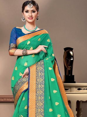 Green Mehndi Trendy Saree