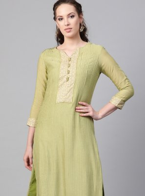 Green Muslin Party Pant Style Suit