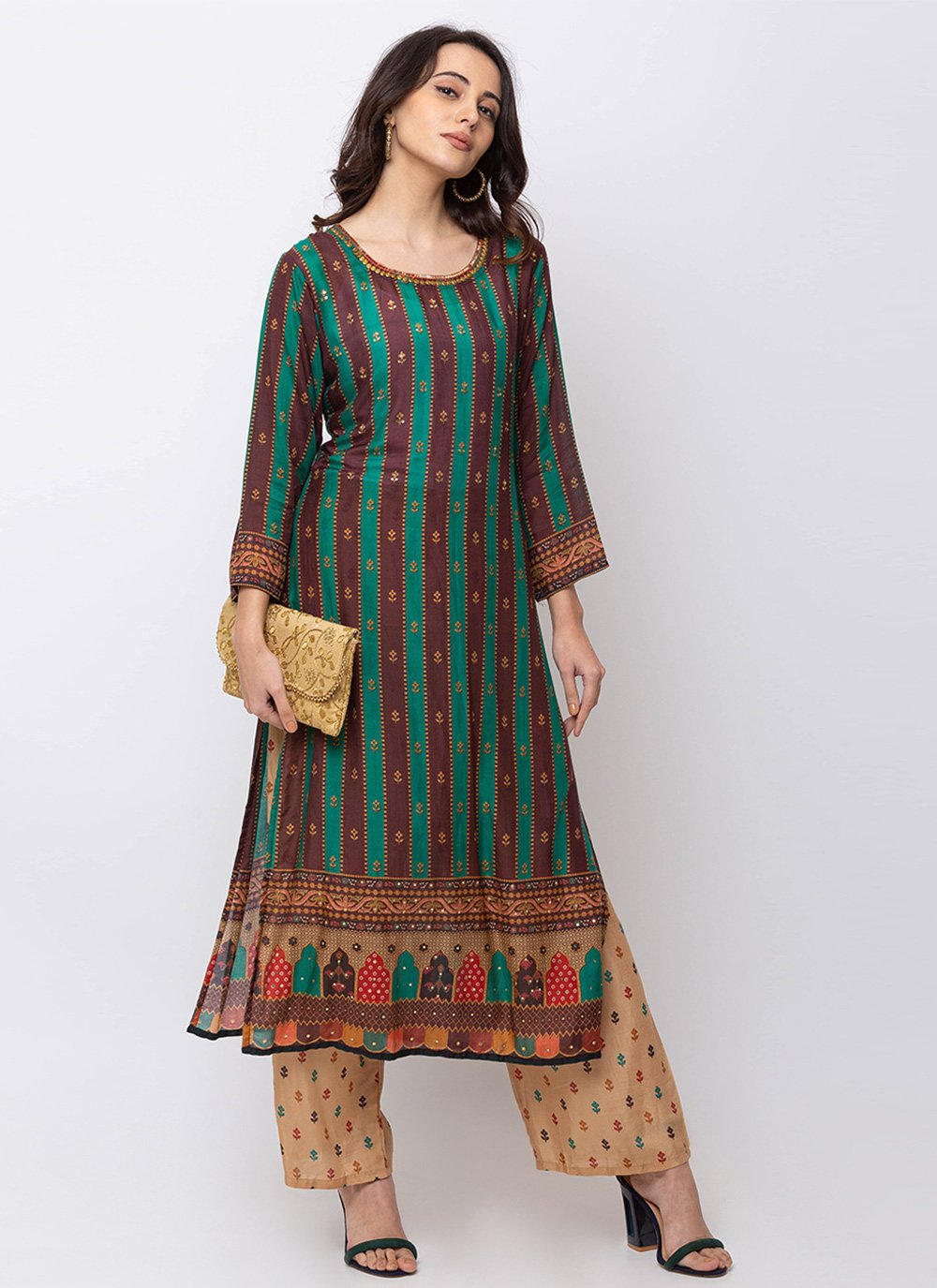 Green Muslin Party Wear Kurti