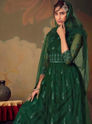 Green Net Designer Palazzo Suit