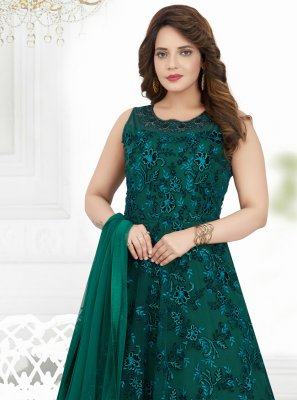 Green Net Embroidered Designer Floor Length Salwar Suit