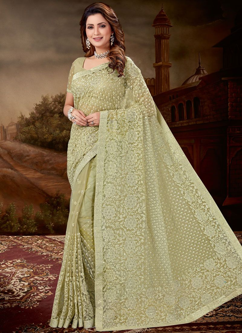 Green Net Embroidered Designer Saree