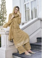 Green Net Embroidered Trendy Salwar Suit