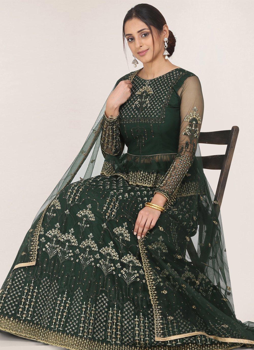 Green Net Reception Bollywood Lehenga Choli