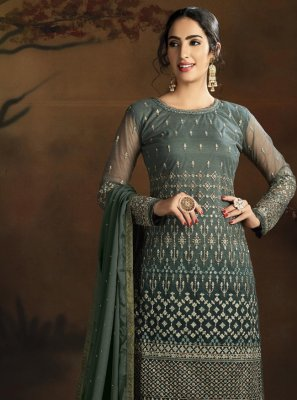 Green Net Thread Designer Suit
