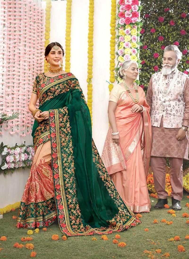 Green Party Art Silk Traditional Designer Saree