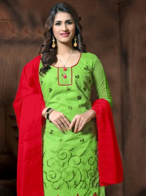 Green Party Churidar Salwar Kameez
