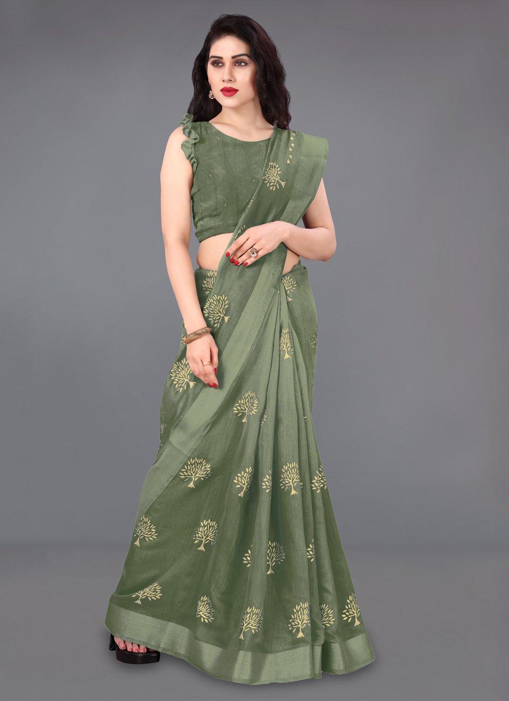 Green Party Cotton Casual Saree