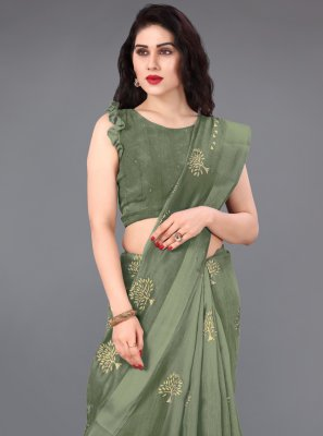 Green Party Cotton Casual Saree