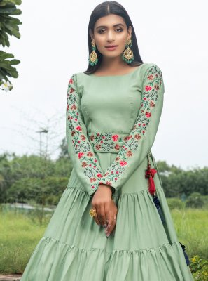 Green Party Cotton Floor Length Gown