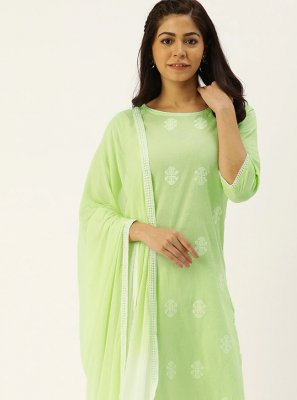 Green Party Cotton Trendy Straight Salwar Kameez
