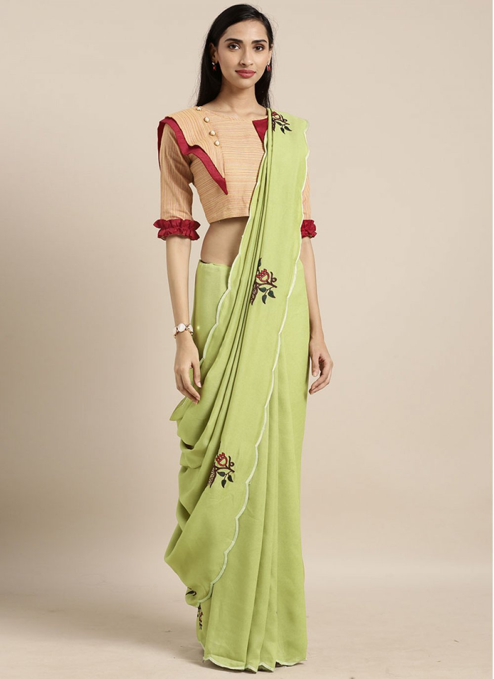 Green Party Faux Georgette Casual Saree