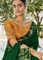 Green Party Faux Georgette Trendy Saree