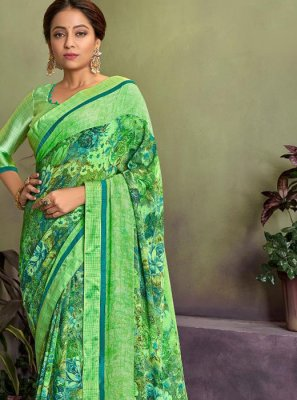 Green Party Georgette Classic Saree