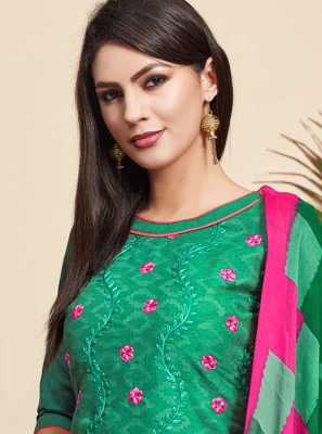 Green Party Jacquard Salwar Suit