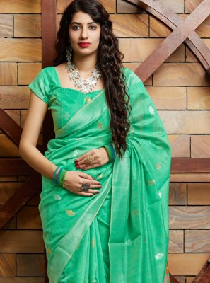 Green Party Silk Contemporary Saree