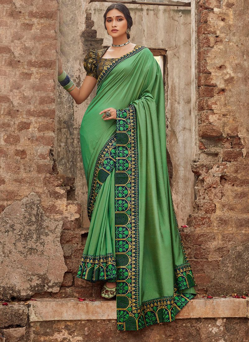 Green Party Silk Saree
