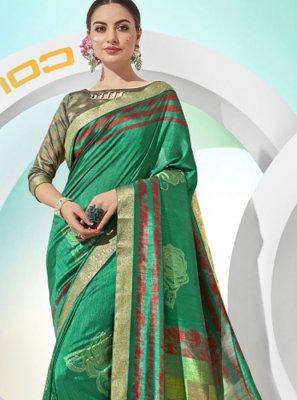 Green Party Silk Saree