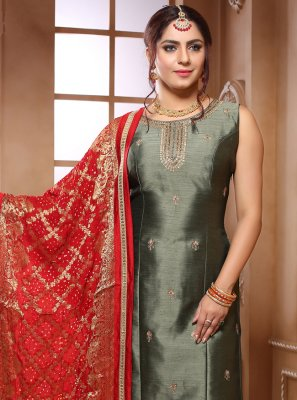 Green Party Silk Trendy Suit