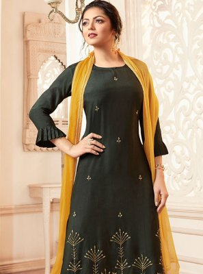Green Party Trendy Palazzo Salwar Kameez