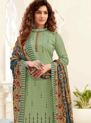 Green Pashmina Digital Print Trendy Straight Salwar Suit