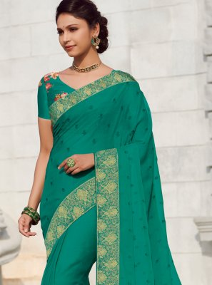 Green Patch Border Faux Chiffon Traditional Saree