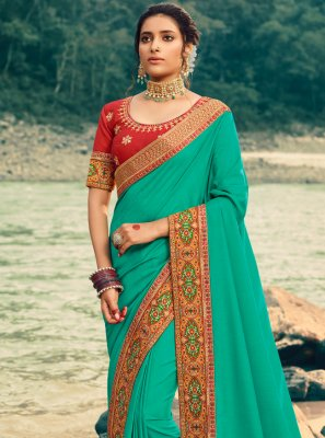 Green Patch Border Festival Classic Saree
