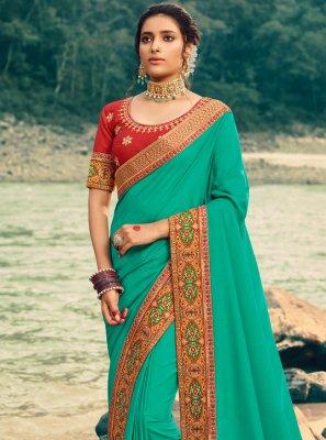 Green Patch Border Festival Classic Saree