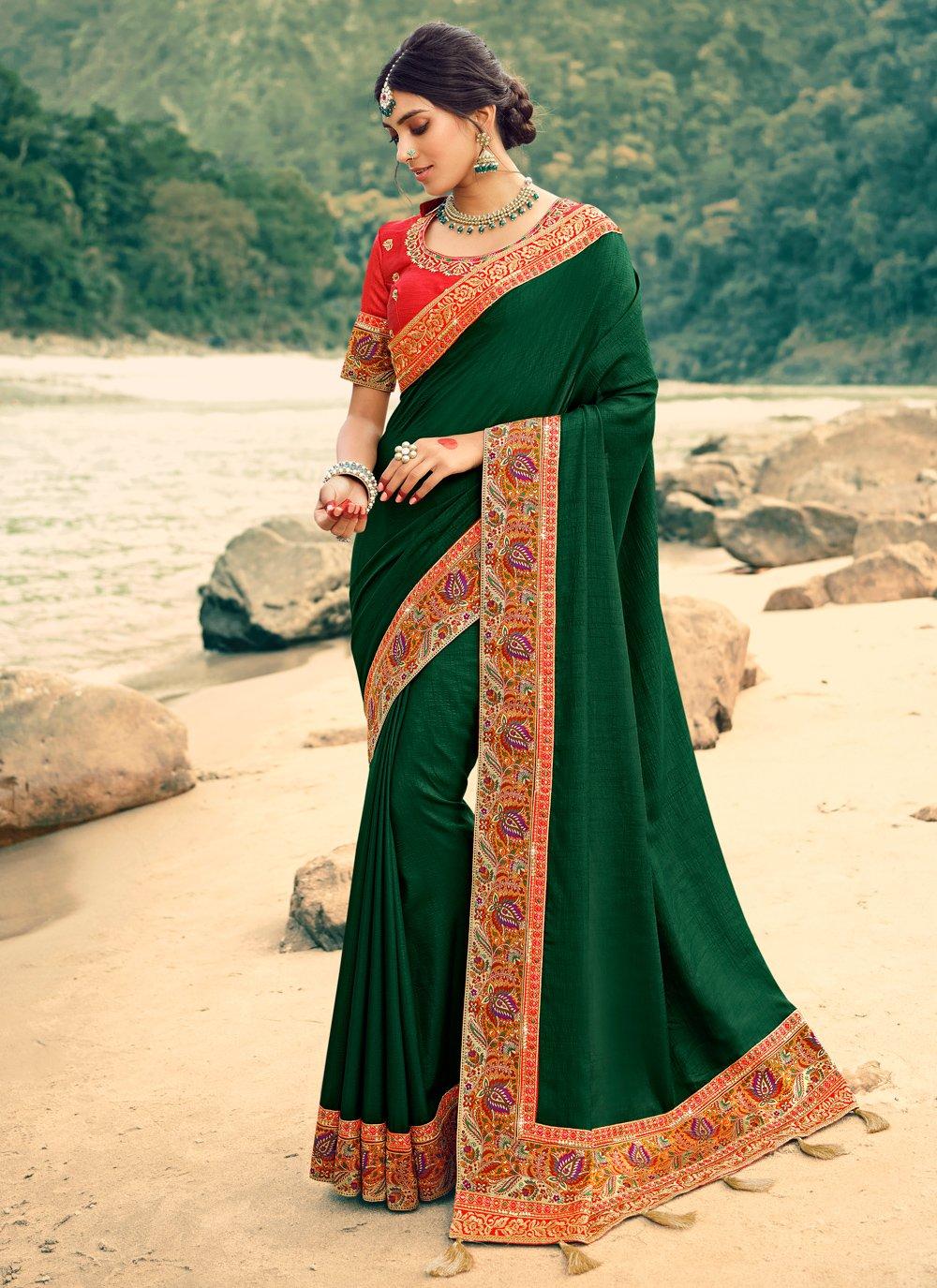 Green Patch Border Silk Classic Saree