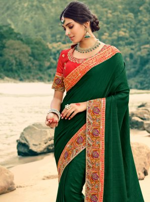 Green Patch Border Silk Classic Saree