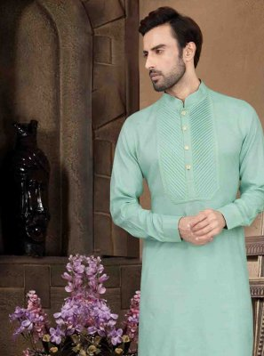 Green Plain Kurta Pyjama